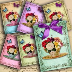 Flowers in a Tea Cup ATC ACEO or Jewelry by DigitalPerfection, $4.00