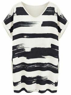 Black Short Sleeve Striped Loose Bodycon Dress