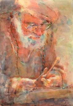 """Contemporary Painting - """"An Ancient Tune"""" (Original Art from Fealing Lin Watercolors)"""