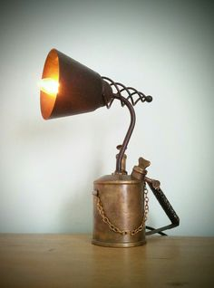AMC77 Vintage brass blow torch steampunk lamp