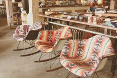 Pendleton upholstered Eames rockers from Beam and Anchor, Portland, OR.