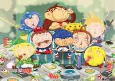 Fat games Heroes : Sonic, Link, Mario, Megaman, Donkey Kong, Pikachu, Cloud, Lara Corf and Pacman