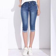 a5ec9f66a21 Plus Size Stretch Knee Length Denim Shorts Jeans