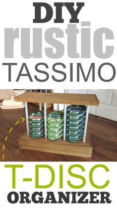 DIY Tassimo T-Disc Organizer for single-serve coffee pods. Love how functional this storage idea is and that it can be customized to match any type of kitchen decor!