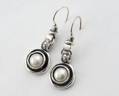 Sterling Silver Dangle Connections Earrings Showing Of 8mm Fwp Cabs
