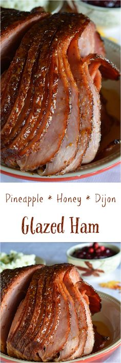 Pineapple Honey Glazed Ham Recipe - This is a simple and delicious holiday meal! A glaze made with pineapple juice, dijon mustard and honey for your spiral ham. #holiday wonkywonderful.com