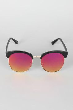 These sunglasses features a semi-rimless trim, combination of metal and plastic framing, wide round lenses, and nose cushions. Special People, Lenses, Mirrored Sunglasses, Metal, Holiday, Gifts, Vacations, Presents, Holidays