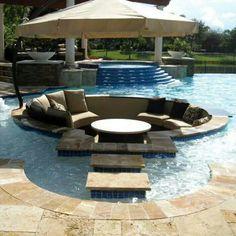 Awesome idea: sunken pool lounge