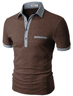 Doublju Men Soft Short Sleeve Slim Fit Polo Shirt BROWN,2XL | shopswell