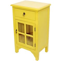 Heather Ann Yellow Short Vivian Paned-Glass Accent Cabinet ($120) ❤ liked on Polyvore featuring home, furniture and storage & shelves