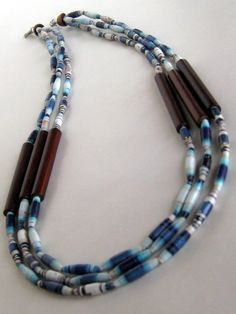 Blue Paper Bead Necklace with Wood Tube Beads by DeepBlueNotion