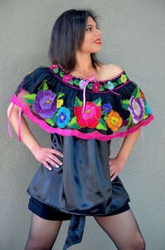 7af38c4fd51 Mexican Off Shoulder Peasant Top Blouse  Tunic HAND Embroidered Multicolor   Handmade  Tunic