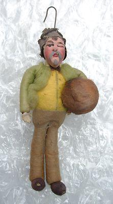 Antique C 1900 Germany Spun Cotton Christmas Ornament Composition Faced Man   eBay 346.00 sold