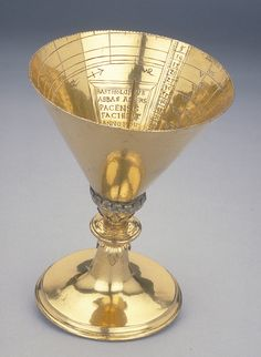 Chalice Dial Dated 1554; Aldersbach Gilt brass; 105 mm in diameter This unusual altitude dial in the form of a chalice, with an hour scale and a solar altitude scale inscribed on the inner surface, could be used for telling the time during the day. The chalice is rotated until the shadow of the pin gnomon projecting inwards lies in the correct month which can be identified by the zodiacal sign. The shadow of the tip of the gnomon then indicates true solar time in equal hours.