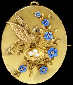 Harry Emanuel (possibly), Brooch with bird, nest, and forget-me-nots, c.1855-73 (source).