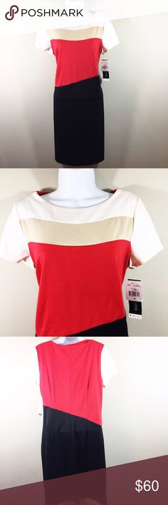 NWT Perceptions New York Color Block Dress Red/tan/black color block short sleeve dress. NWT. Perfect condition. Perceptions New York Dresses Midi
