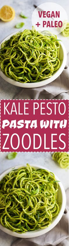 Zucchini noodles with healthy, nut free kale pesto!