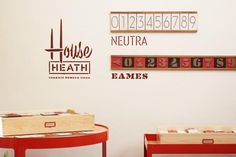 Heath Ceramics. House numbers in styles Neutra and Eames.