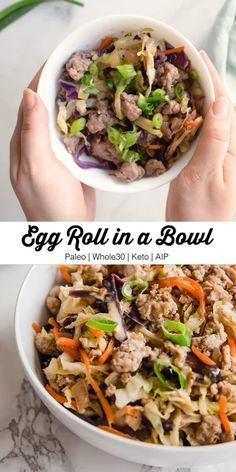 This Egg Roll in a Bowl recipe brings back all of the flavor and nostalgia you love about egg rolls without the wrapper! It's paleo, AIP, and keto. Recipes paleo Egg Roll in a Bowl Keto, Paleo) Paleo Dinner, Healthy Dinner Recipes, Whole Food Recipes, Diet Recipes, Cooking Recipes, Paleo Recipes Egg Free, Whole 30 Easy Recipes, Paleo Recipe Videos, Whole 30 Crockpot Recipes