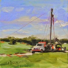 """Daily Paintworks - """"Pulling Pipe"""" - Original Fine Art for Sale - © Spencer  Meagher"""
