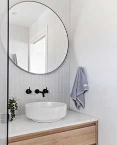 Another shot of one of my recent bathrooms - loved the way this one turned out! White, grey and timber.literally a fail safe combination! Bathroom Renos, Laundry In Bathroom, Bathroom Layout, Modern Bathroom Design, Bathroom Interior Design, Bathroom Furniture, Small Bathroom, Round Bathroom Mirror, Bathroom Goals