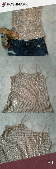 Sequined Tank Top Small Cream colored tank top with sequins on the front, very cute! Size small. LOFT Tops Tank Tops