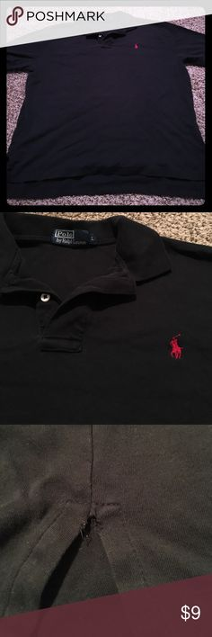 Men's Ralph Lauren black polo size large Men's black polo size large-polo by Ralph Lauren- gently used except the side slits have the stitching pulled as pictured Polo by Ralph Lauren Shirts Polos