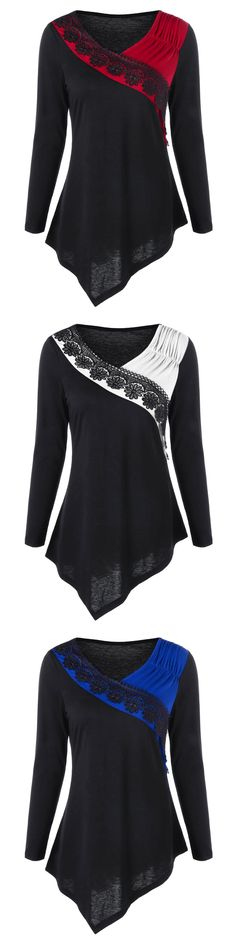 Two Tone Lace Trim Asymmetric Top  | $7.78 | Size: M-2XL | Sammydress.com