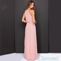 Vestidos De Festa Woman Clothes 2015 Solid Pink Sleeveless Halter Pleated Backless Fashion Designs Maxi Dress