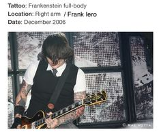 Frank Iero tattoo I Love Mcr, Love Him, Frank Iero Tattoos, Frank Lero, Perfect Music, Gerard Way, Emo Bands, Save My Life, My Chemical Romance