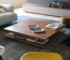 High-end solid wood coffee table shown in walnut