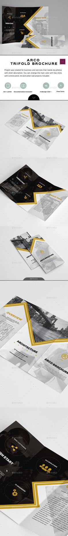 Arco Trifold Brochure Template InDesign INDD. Download here: https://graphicriver.net/item/arco-trifold-brochure/17043229?ref=ksioks