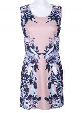 Pink Scoop Neck Sleeveless Floral Dress $31.45