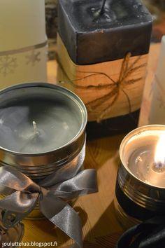 Joulublogi Jouluttelua: Itsetehdyt kynttilät Candle Jars, Candle Holders, Candles, Tea Lights, Diy, Crafts, Manualidades, Bricolage, Tea Light Candles