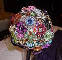 DIY brooch bouquet - made with styrofoam ball and wires