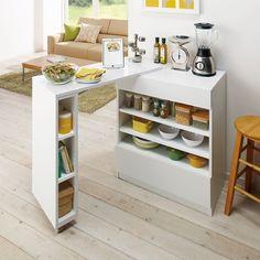 キッチン収納伸縮カウンターテーブル収納庫 幅90~155cm 通販 - ディノス