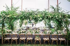 Organic San Juan Island wedding with a floral-filled reception setting Marquee Wedding, Wedding Reception Decorations, Wedding Receptions, Wedding Flowers, Wedding Day, Green Wedding, Wedding Shoes, Floral Backdrop, Floral Arch