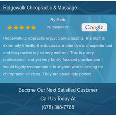Ridgewalk Chiropractic is just plain amazing.  The staff is extremely friendly, the...