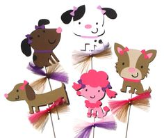 5 Puppy Dog Party Girl Themed Centerpiece by ScrapsToRemember, $17.50