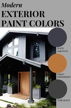 Modern Exterior Paint Colors - Shawna Simonson - Modern Exterior Paint Colors 9 modern exterior paint color combinations that will give your home massive curb appeal. These modern colors are guaranteed to stand out on your block. Exterior Paint Color Combinations, House Exterior Color Schemes, House Paint Color Combination, Black House Exterior, Exterior Paint Colors For House, Paint Colors For Home, Paint For House, House Color Combinations, Outside House Paint Colors
