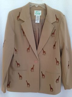 THE QUACKER FACTORY SIZE 14 BROWN BEIGE BLAZER JACKET EMBROIDERED GIRAFFE SAFARI #TheQuackerFactory #Blazer