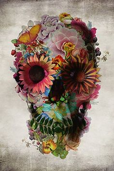 """""""Floral Skull"""" Graphic/Illustration by Ali GULEC posters, art prints, canvas prints, greeting cards or gallery prints. Find more Graphic/Illustration art prints and posters in the ARTFLAKES shop. Los Muertos Tattoo, Aquarell Tattoo, Totenkopf Tattoos, Capas Samsung, Sugar Skull Tattoos, Sugar Skulls, Candy Skulls, Photocollage, Tatoo Art"""