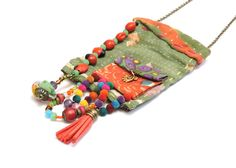 Vintage Hindu textile necklace - upcycled fabric jewelry - Boho textile necklace…