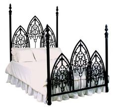 Picture and Elven princess, draped gracefully over this bed in a long gown. Yes, it is awesome. Queen Beds, King Beds, Iron Furniture, Furniture Decor, Furniture Design, Gothic Bedroom, Master Bedroom, French, Duvet