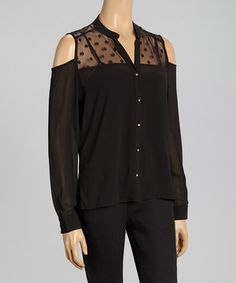 This Rain Black Cutout Button-Up Top - Women - Women by Rain is perfect! #zulilyfinds