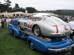 Mercedes Race Transporter replica carrying the original Moss/Jenkinson car that won the 1955 Mille Miglia