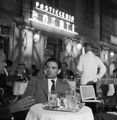 Pier Paolo Pasolini, Caffe Rosati, Rome, 50s