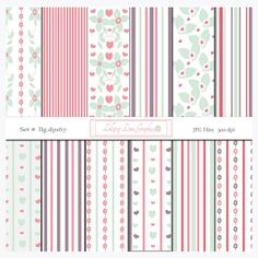 Floral Hearts Stripes Digital Paper Pack Flowers Leaves Pastel Stripes Valentines Day Hearts Shabby Chic Background Paper Clipart