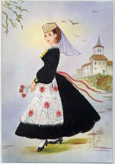 An Italian girl from Abruzzo region Italian Girls, Vintage Italian, Contemporary Decorative Art, Costumes Around The World, Sewing Art, Ballet Costumes, Naive Art, Folk Costume, Traditional Outfits