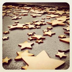 A tray full of laser cut stars by Craftshapes.co.uk